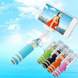 Wholesale-Super Mini Handy Selfie Stick Handheld Monopod for iPhone Pau de Selfie For Samsung Android IOS Groove Para Selfie