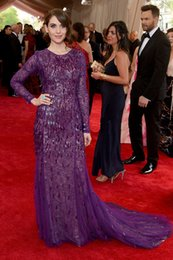 Wholesale W70 alison brie Met Gala Sequined Purple Mermaid Long Sleeve Evening Dresses Formal Party Gown vestido de festa
