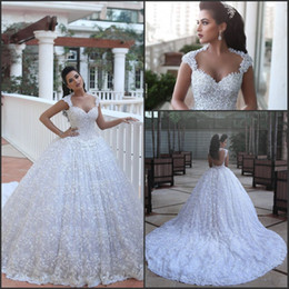 Cathedral Train Luxury Wedding Dresses Ball Gowns Arabic Dubai Vestido De Novia with Beads 3D Floral Flowers Said Mhamad Bridal Gowns