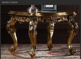 Antique reproduction living room furniture -French classic coffee table with gold leaf gilding -Italian square table