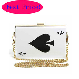 Wholesale Best Price Hot Acrylic Evening Bags Brand Designer Poker Clutch Women Queen Handbag Purse Hard Chain Box Perfume Bag Plastic