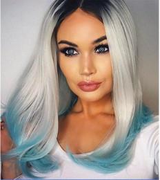 Resistente para el cabello de calor en venta-Las mujeres forman Medio Liso sintética del frente del cordón No resistente al calor pelucas de pelo 14 '' Negro + Gris + menta verde)