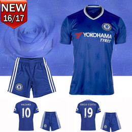 Wholesale 2016 Chelsea Adult kits HAZARD SOCCER JERSEYS Uniforms HOME BLUE DIEGO COSTA FABREGAS PATO WILLIAN PEDRO sets football SHIRTs