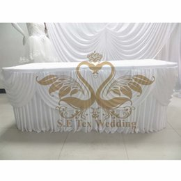 Cheap Price White Color Ice Silk Table Skirt Wedding Table Skirting Size Can Choose