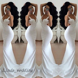 Free Shipping White Open Back Prom Dresses Backless Long Evening Dress Women Party Gowns Custom Made