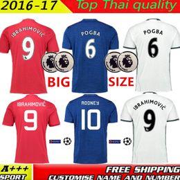 Wholesale Big size XXL XXXL XL MancHESTER Jerseys Man Utd IBRAHIMOVIC POGBA Rooney MATA MARTIAL football shirts