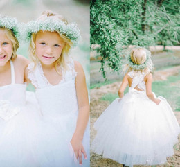 Wholesale 2016 Latest Collection Bespoke Couture Flower Girl Dresses Strapless Criss Cross Lace Back Ball Gown Floor Length Tulle Feathery Ruffles