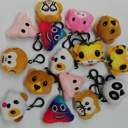 Wholesale New style cm2 inch Monkey love Pig pooh dog panda Emoji plush Keychain emoji Stuffed Plush Doll Toy keyring for Mobile Pendant E932