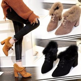 Fashion women shoes Winter new suede boots short tube high-heeled Martin boots with fine with the British wind frosted boots shoes35-39