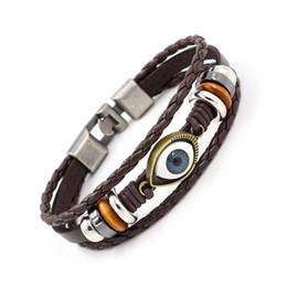 Malos encantos ojo azul en Línea-Cuero Turquía Blue Eyes pulseras del encanto de la aleación hecha a mano con cuentas pulseras pulsera del ojo malvado de la armadura de pulseras de la amistad para los hombres joyería de las mujeres