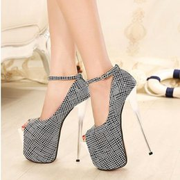 20CM Ultra High Heels Women Shoes Spring Peep Toe Buckle Strap Sexy Women Pumps Nightclubs Party Women Shoes 35-43