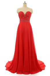 Sexy Sweetheart Beaded Lace Chiffon Evening Dress 2016 Floor Length Evening Gowns Red Color Or Custom Made