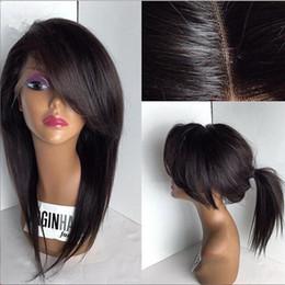 Descuento cordón lleno recta superior de seda Silky Straight 4x4 Silk Base Lace Front pelucas con lados Bangs malasia pelo humano Glueless Silk Top lleno peluca con pelo bebé