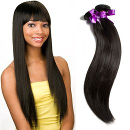 Wholesale Cheap Real Hair Pieces - MikeHair Cheap Price 1 Piece Natural Color 5A Grade Straight Hair Weft Peruvian Real Human Hair Weave On Sale