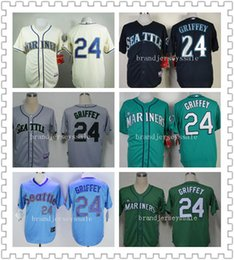 Wholesale 24 Ken Griffey Jr Jerseys Men s Seattle Mariners Ken Griffey Jr Cool Base Cream green White Hall Of Fame MLB Baseball jerseys