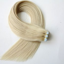 100g 40pcs Tape in Hair Extensions Straight Brazilian Indian human hair Glue Skin Weft 18 20 22 24inch #60A color