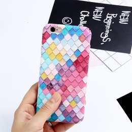 Ultra Thin Fashion Colorful Ling Ge Beauty Fish Scale PC Phone Case For Iphone 7 7plus 6 6s plus Girl Mermaid Back Cover