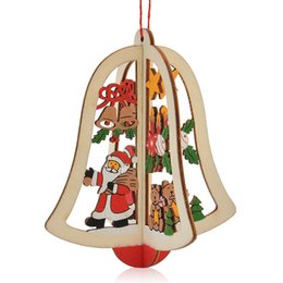 Wholesale Christmas decorations Christmas tree carved wooden windows pentacle pendant bell Charm Strap