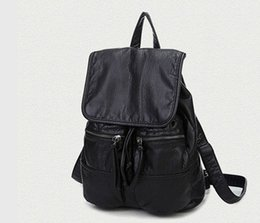 The Star Of The Same Paragraph Tang Yan Black Backpack Pu Leather Computer Casual Bag Fashion Schoolbags