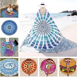 Wholesale Round quadrate Bikini Cover Ups Beach Beach Towel Bikini Cover Bohemian Beachwear Chiffon Beach Sarongs Shawl Bath Towel Yoga Mat T396