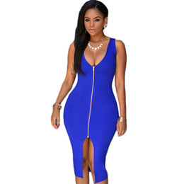 Hot Sale Royal Blue Front Zip Sexy Club Dress 2016 V-neck Sleeveless Tank Split Dress Vestido Casual Party Midi Dresses White Black dress