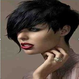 Wholesale Newest Black B color Side Bang Short Curly Weman Synthetic Hair Wig Natural Wigs Rihhna Style