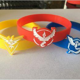 Wholesale poke Go Silicone Bracelet Colors Pocket Monster team Wristbands Poke Ball Pikachu Squirtle valor mystic instinct logo Bracelets bangles