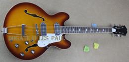 Wholesale Custom John Lennon Revolution Casino Vintage Sunburst ES Jazz Electric Guitar Semi Hollow Body Double F Hole Metal Tailpiece Top Selling