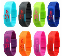 2015 Sports watch rectangle led Digital Display touch screen watches Rubber belt silicone bracelets Wrist watches 2015