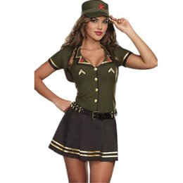 Wholesale Four piece Cutie Green Color Short Cropped Jacket Pleated Skirt Security Military Women Sexy Army Uniform Costume Dress L15367