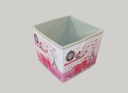 Foldable PU Storage Box with Foral Printing Outside Organizer Containers Cube, Home Storage Bins Square Red