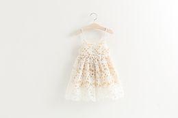 Wholesale Crochet Bows Wholesale - Baby girls lace hollow dress 2016 children full lace crochet dress kids princess dress children summer clothes beige red black A8517