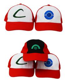 Wholesale Poke Go Baseball Caps Ash Ketchum Trainer Hat Casual Pikachu Caps Adjustable Poke Ball Snapbacks Hats Trucker hat Adult Cosplay