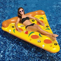 Wholesale 2016 Hot Giant Yellow Inflatable Pizza Slice Floating Bed Raft Air Mattress Summer cm PVC Adults Water Toy Floating Row