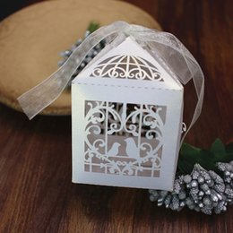 Wholesale Baby shower decor tiny loving birds ribbon deco heart shape favor box candy boxes wed favor boxes party supplies