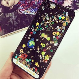 Wholesale Silicone Cell Phone Case Quicksand Stars Black Dirt Resistant for Boys and Girls iPhone Cases Online Store