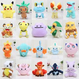 Wholesale 20pcs cm Pikachu plush toys Jigglypuff Jirachi Mew Clefairy Cubone Ampharos Foodin Soft Stuffed Dolls Kids toy