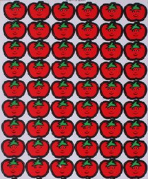cheap school red apple smile face label for children reward