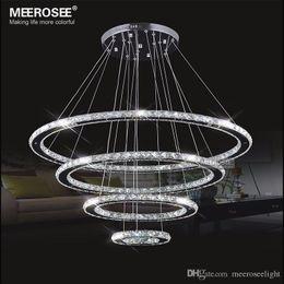 Miroirs suspendus décoratifs en Ligne-Miroir Acier inoxydable Crystal Diamond Accessoires d'éclairage 4 anneaux led Lampes pendantes Cristal Dinning Decorative Hanging Lamp