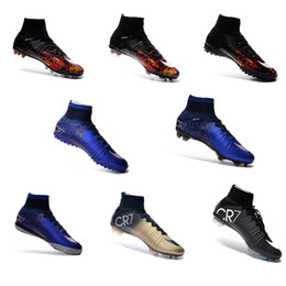 Wholesale 100 original Mercurial Superfly FG Kids Soccer Shoes football Boots C Ronaldo CR7 soccer Cleats Laser Youth Women Boy s Football Sneakers