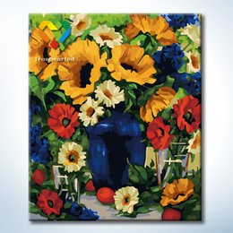 Wholesale Summer Flower Wall Art DIY Painting Baby Toys x60cm Digital Canvas Oil Painting Drawing Wall Art for Family Gift with Green Acrylic
