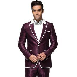 Wholesale-Men Suit 2016 Single Button Men's Wedding Dress Suits Party Tuxedo Costume Homme New Purple And Navy Blue Ternos Masculino Z1188