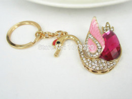 Wholesale T1 Swan Car Keyring Cute Rhinestone Crystal Charm Pendant Key Bag Chain Gift New Fashion