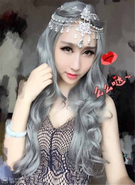 Free Shipping Long Straight Curly Hair Grey White Ombre wig Heat Resistant Fiber Synthetic Cosplay Wigs