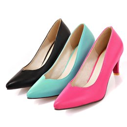 Wholesale Clubs In Europe and America Small Yards Shoes Point Thick with New Single Shoe Heels Big Yards Female Shoes