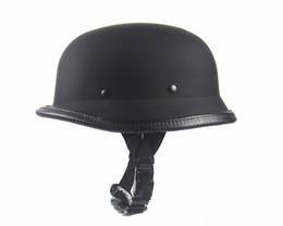 Wholesale 2016 New Universal Hot Matte Black Helmets German Army Helmet DOT Helmet for Harley Retro Helmets Half Summer Helmet Scooters