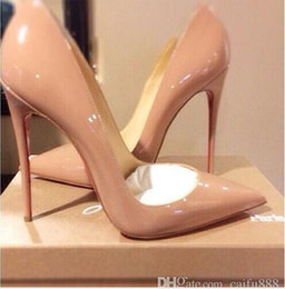 Wholesale Top Quality Women High Heels Pointed Toe Pumps Party Wedding Shoes Lady Stiletto High Heel Pump Patent Leather Escarpins Semelle Rouge