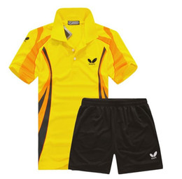Wholesale Butterfly Table Tennis Shirt Set Tennis Breathable Shirt Shorts Men Badminton wear T shirt Functional Dry Sport Suit Polyester