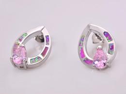 Wholesale & Retail Fashion Blue Pink Fine Fire Opal Earrings 925 Silver Plated Jewelry EMT16042606