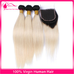 Two Tone #1B 613 Brazilian Human Hair Weaves Blonde 613 Ombre Hair Bundles With Lace Closure 4x4 Unprocessed Hair Extensions